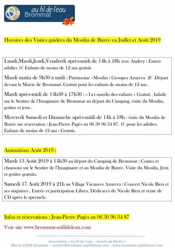 Horaires de visites guidees du moulin de buree en juillet et aout 2019 1