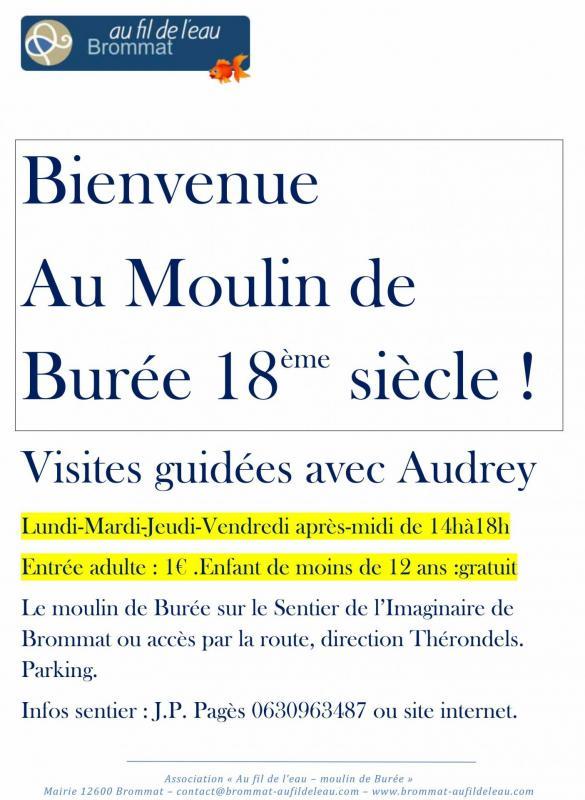 Horaires de visites guidees du moulin de buree en juillet et aout 2019 2